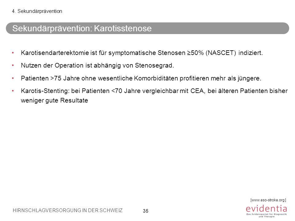 Sekundärprävention: Karotisstenose 35 4. Sekundärprävention Karotisendarterektomie ist für symptomatische Stenosen ≥50% (NASCET) indiziert. Nutzen der