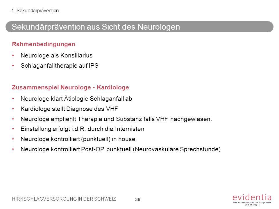 Sekundärprävention aus Sicht des Neurologen 36 4. Sekundärprävention HIRNSCHLAGVERSORGUNG IN DER SCHWEIZ Rahmenbedingungen Neurologe als Konsiliarius