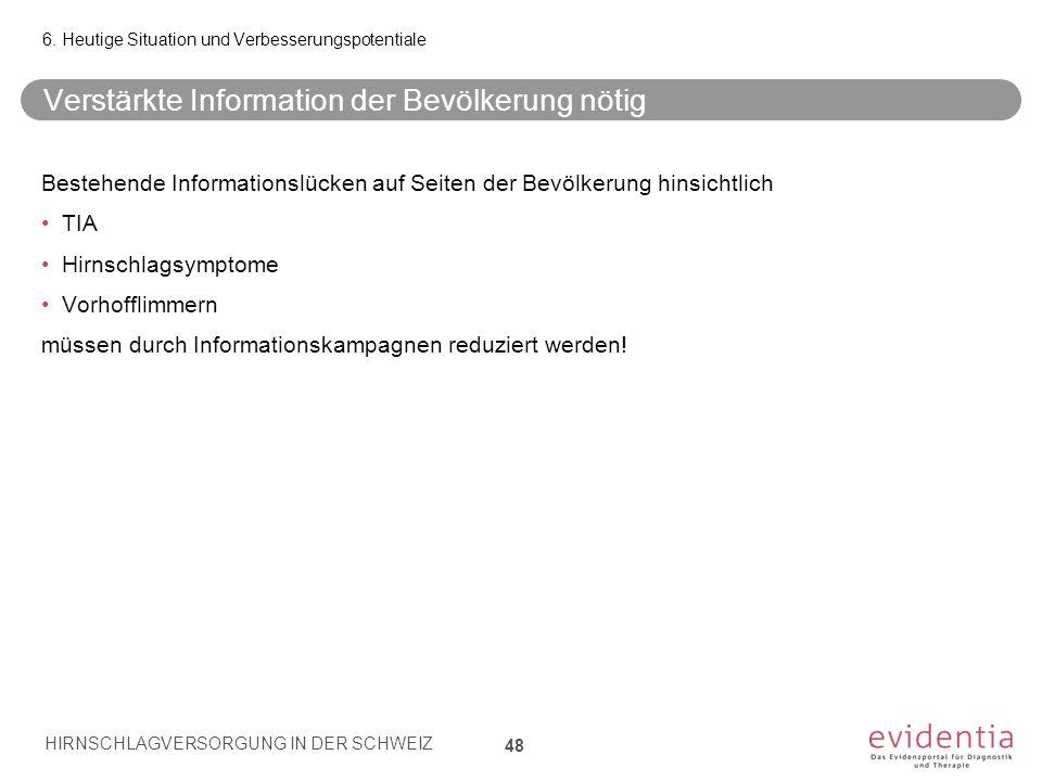 Verstärkte Information der Bevölkerung nötig 48 6. Heutige Situation und Verbesserungspotentiale Bestehende Informationslücken auf Seiten der Bevölker