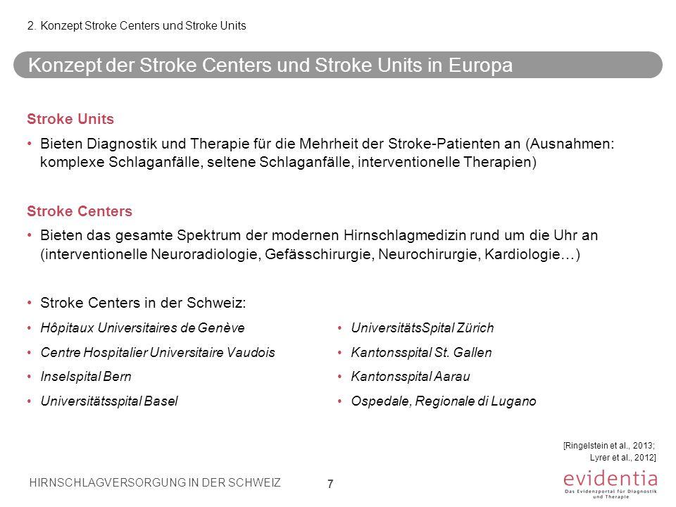 Konzept der Stroke Centers und Stroke Units in Europa 7 2. Konzept Stroke Centers und Stroke Units Stroke Units Bieten Diagnostik und Therapie für die