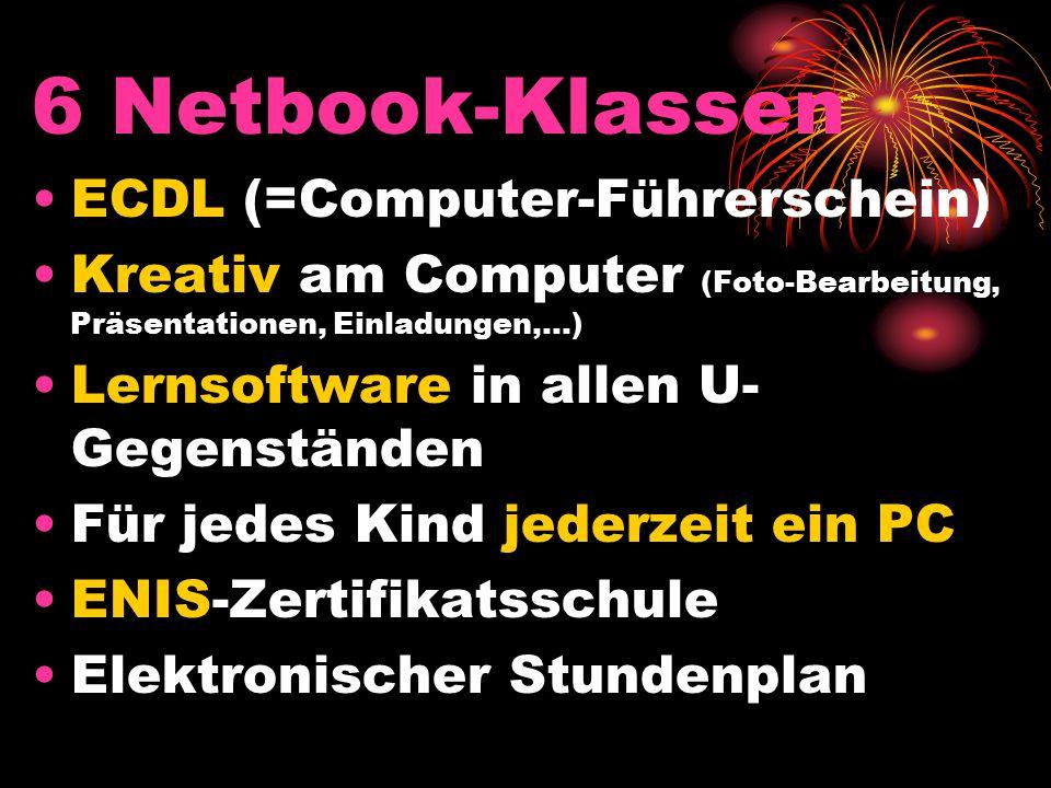 6 Netbook-Klassen ECDL (=Computer-Führerschein) Kreativ am Computer (Foto-Bearbeitung, Präsentationen, Einladungen,…) Lernsoftware in allen U- Gegenständen Für jedes Kind jederzeit ein PC ENIS-Zertifikatsschule Elektronischer Stundenplan