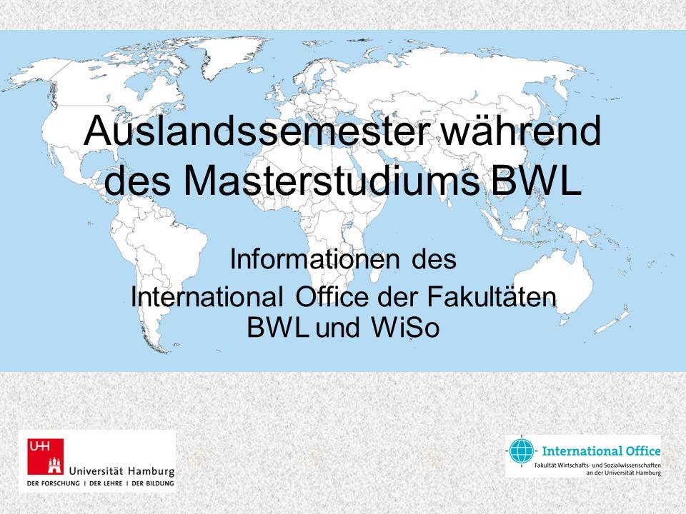 Auslandssemester während des Masterstudiums BWL Informationen des International Office der Fakultäten BWL und WiSo