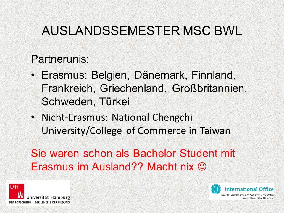 AUSLANDSSEMESTER MSC BWL Partnerunis: Erasmus: Belgien, Dänemark, Finnland, Frankreich, Griechenland, Großbritannien, Schweden, Türkei Nicht-Erasmus: