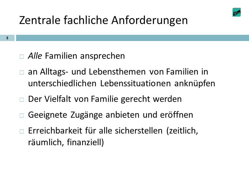 Zentrale fachliche Anforderungen 3  Alle Familien ansprechen  an Alltags- und Lebensthemen von Familien in unterschiedlichen Lebenssituationen anknü