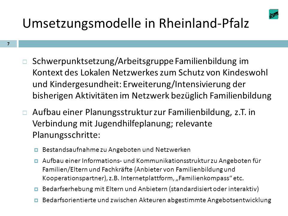 Umsetzungsmodelle in Rheinland-Pfalz 7  Schwerpunktsetzung/Arbeitsgruppe Familienbildung im Kontext des Lokalen Netzwerkes zum Schutz von Kindeswohl