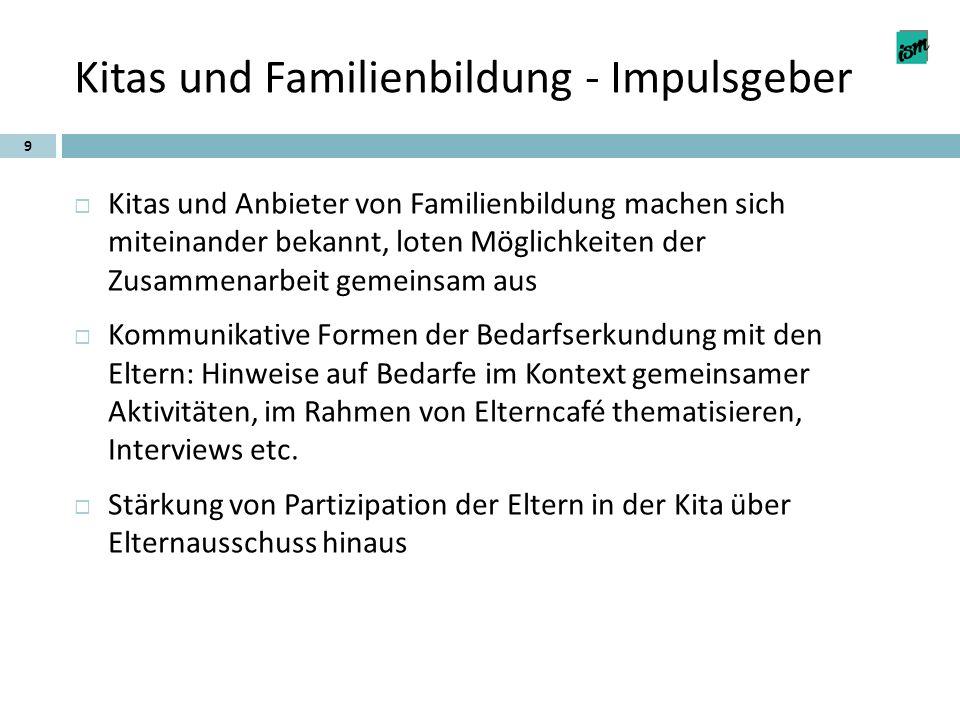 Kitas und Familienbildung - Impulsgeber 9  Kitas und Anbieter von Familienbildung machen sich miteinander bekannt, loten Möglichkeiten der Zusammenar