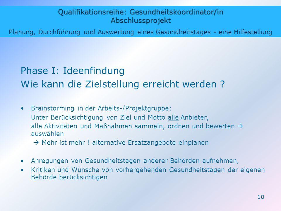 Qualifikationsreihe: Gesundheitskoordinator/in Abschlussprojekt Planung, Durchführung und Auswertung eines Gesundheitstages - eine Hilfestellung 10 Ph