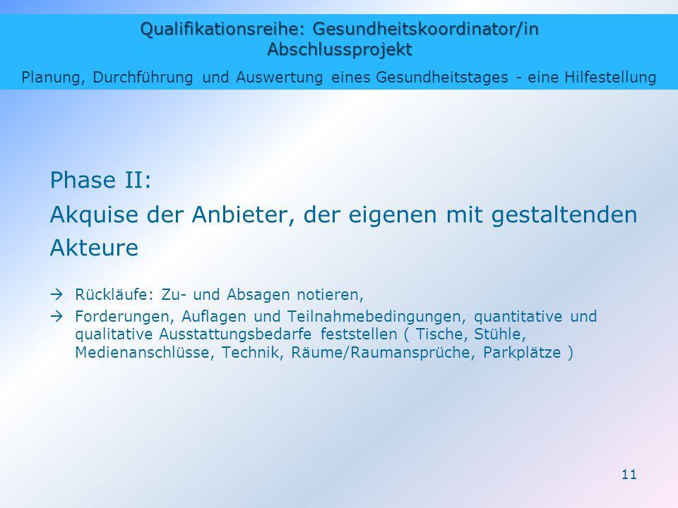 Qualifikationsreihe: Gesundheitskoordinator/in Abschlussprojekt Planung, Durchführung und Auswertung eines Gesundheitstages - eine Hilfestellung 11 Ph