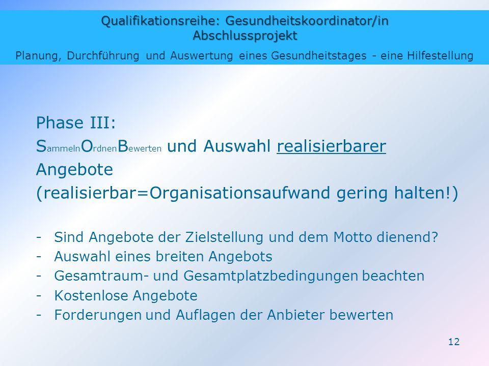 Qualifikationsreihe: Gesundheitskoordinator/in Abschlussprojekt Planung, Durchführung und Auswertung eines Gesundheitstages - eine Hilfestellung 12 Ph