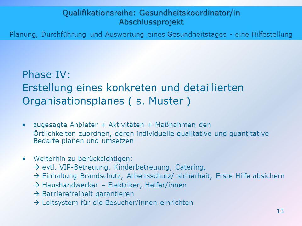 Qualifikationsreihe: Gesundheitskoordinator/in Abschlussprojekt Planung, Durchführung und Auswertung eines Gesundheitstages - eine Hilfestellung 13 Phase IV: Erstellung eines konkreten und detaillierten Organisationsplanes ( s.