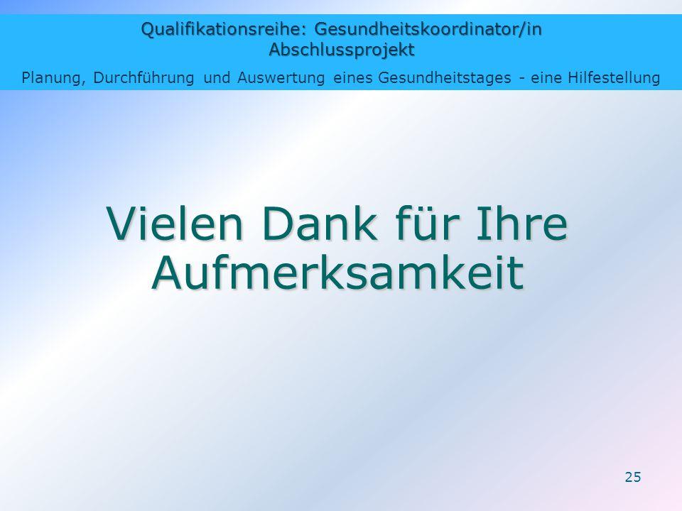 Qualifikationsreihe: Gesundheitskoordinator/in Abschlussprojekt Planung, Durchführung und Auswertung eines Gesundheitstages - eine Hilfestellung 25 Vi