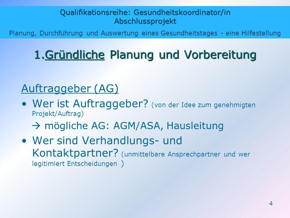 Qualifikationsreihe: Gesundheitskoordinator/in Abschlussprojekt Planung, Durchführung und Auswertung eines Gesundheitstages - eine Hilfestellung 4 1.G