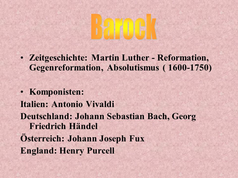 Name: J. S. Bach Geboren am 21.3.1685 in Eisenach 1694/95 starben seine Eltern Berühmte Werke: Toccata und Fuge und 'Air' Johann Sebastian Bach starb