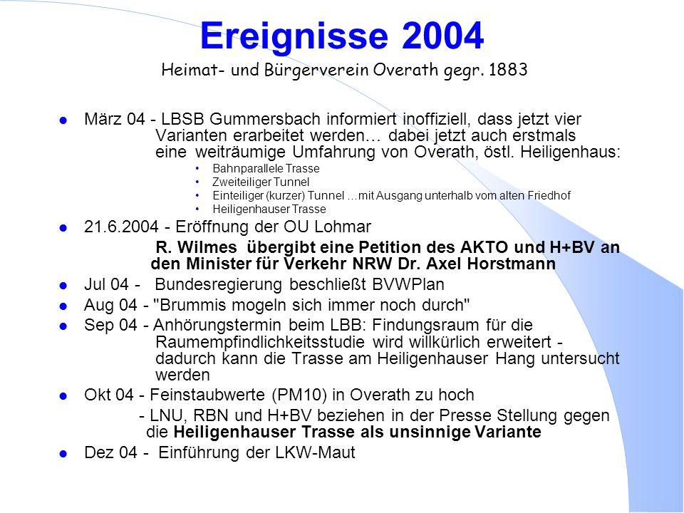 Ereignisse 2004 Heimat- und Bürgerverein Overath gegr. 1883 l März 04 - LBSB Gummersbach informiert inoffiziell, dass jetzt vier Varianten erarbeitet