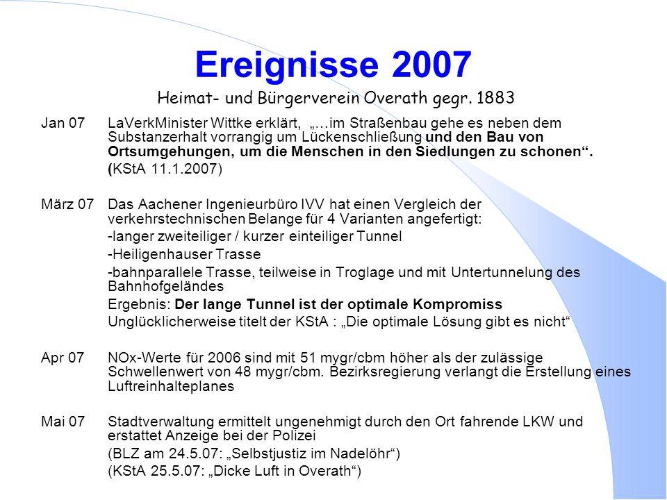 """Ereignisse 2007 Heimat- und Bürgerverein Overath gegr. 1883 Jan 07LaVerkMinister Wittke erklärt, """"…im Straßenbau gehe es neben dem Substanzerhalt vorr"""