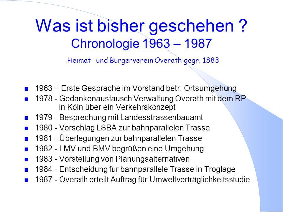 Was ist bisher geschehen ? Chronologie 1963 – 1987 Heimat- und Bürgerverein Overath gegr. 1883 n 1963 – Erste Gespräche im Vorstand betr. Ortsumgehung
