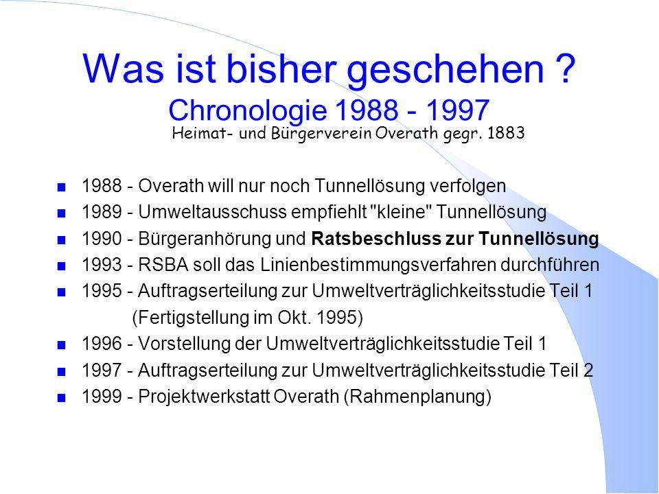 Was ist bisher geschehen ? Chronologie 1988 - 1997 Heimat- und Bürgerverein Overath gegr. 1883 n 1988 - Overath will nur noch Tunnellösung verfolgen n