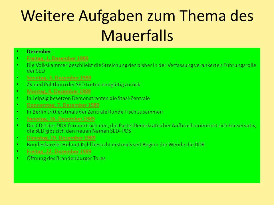 Weitere Aufgaben zum Thema des Mauerfalls Dezember Freitag, 1. Dezember 1989 Die Volkskammer beschließt die Streichung der bisher in der Verfassung ve