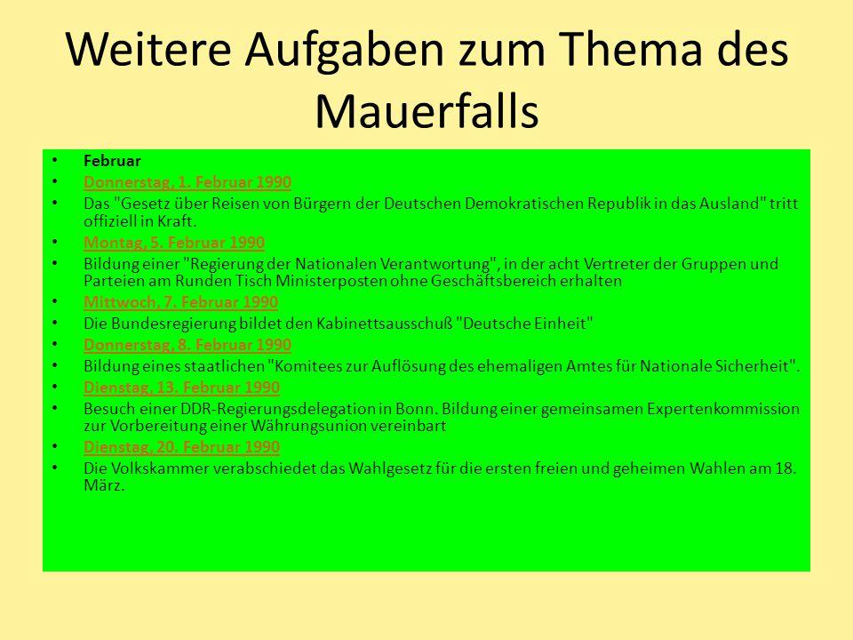 Weitere Aufgaben zum Thema des Mauerfalls Februar Donnerstag, 1.