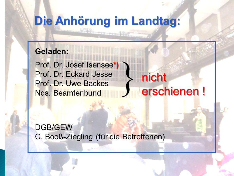Die Anhörung im Landtag: Geladen: *) Prof. Dr. Josef Isensee*) Prof.
