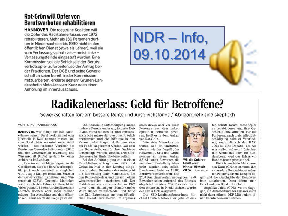 NDR – Info, 09.10.2014