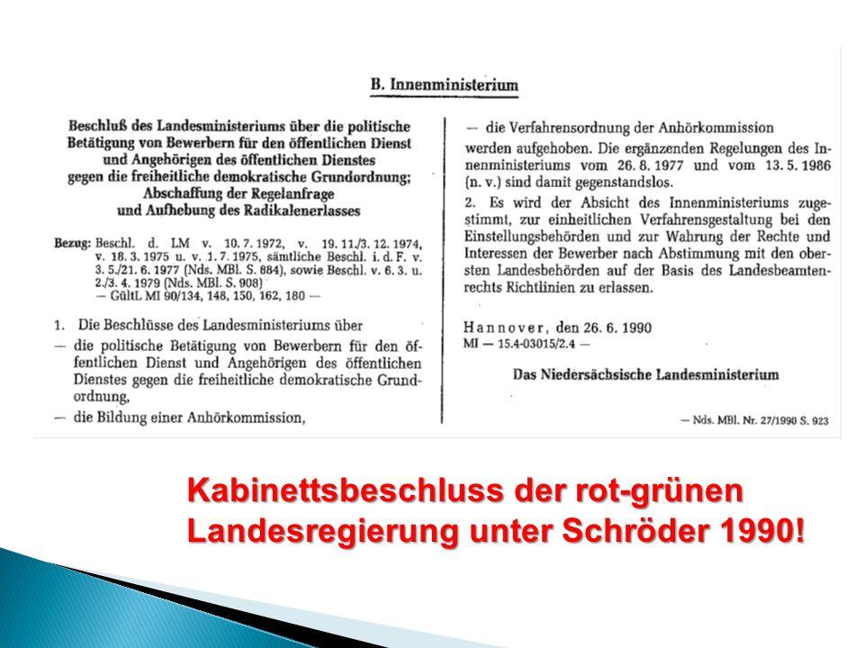 Kabinettsbeschluss der rot-grünen Landesregierung unter Schröder 1990!