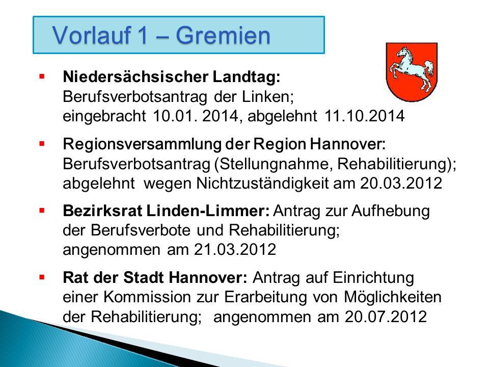 Vorlauf 1 – Gremien Vorlauf 1 – Gremien  Niedersächsischer Landtag: Berufsverbotsantrag der Linken; eingebracht 10.01.