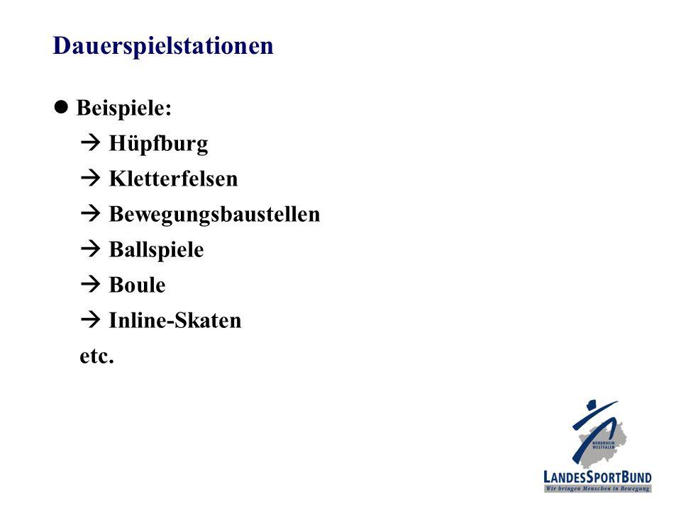 Dauerspielstationen Beispiele:  Hüpfburg  Kletterfelsen  Bewegungsbaustellen  Ballspiele  Boule  Inline-Skaten etc.