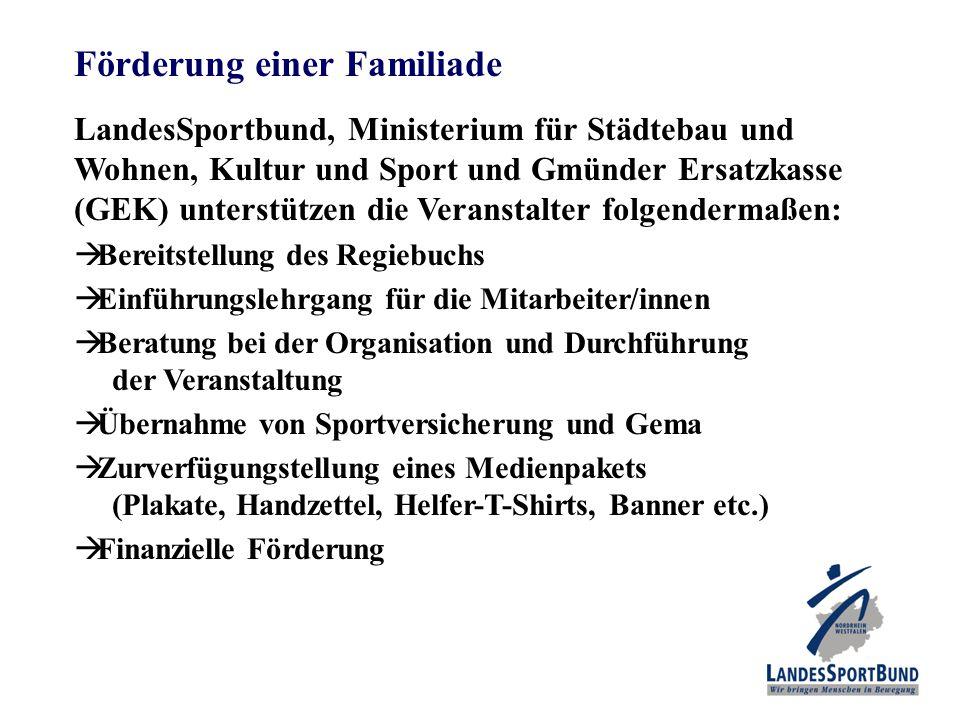 Förderung einer Familiade LandesSportbund, Ministerium für Städtebau und Wohnen, Kultur und Sport und Gmünder Ersatzkasse (GEK) unterstützen die Veran