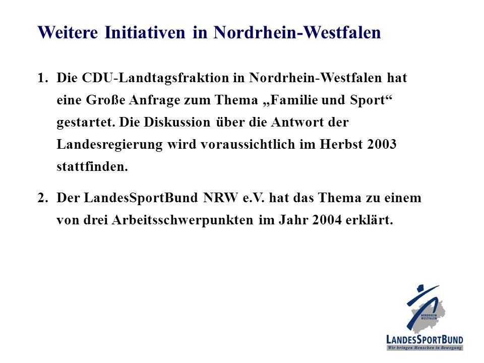 """Weitere Initiativen in Nordrhein-Westfalen 1.Die CDU-Landtagsfraktion in Nordrhein-Westfalen hat eine Große Anfrage zum Thema """"Familie und Sport gestartet."""