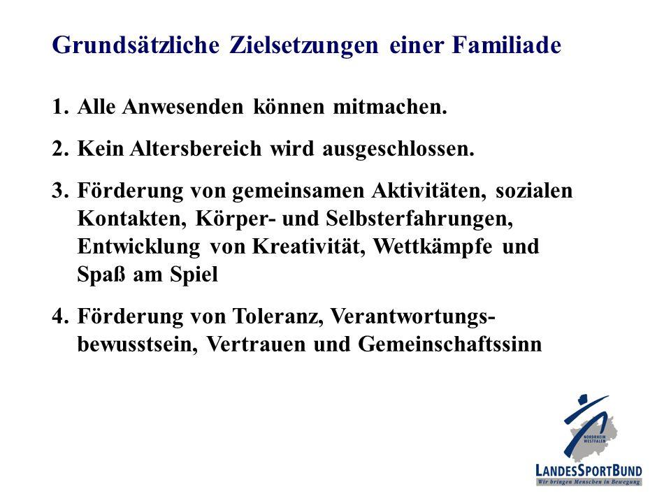 Grundsätzliche Zielsetzungen einer Familiade 1.Alle Anwesenden können mitmachen. 2.Kein Altersbereich wird ausgeschlossen. 3.Förderung von gemeinsamen