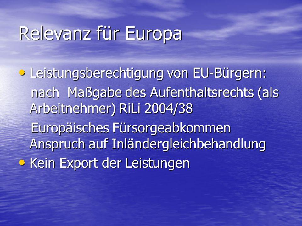 Relevanz für Europa Leistungsberechtigung von EU-Bürgern: Leistungsberechtigung von EU-Bürgern: nach Maßgabe des Aufenthaltsrechts (als Arbeitnehmer) RiLi 2004/38 nach Maßgabe des Aufenthaltsrechts (als Arbeitnehmer) RiLi 2004/38 Europäisches Fürsorgeabkommen Anspruch auf Inländergleichbehandlung Europäisches Fürsorgeabkommen Anspruch auf Inländergleichbehandlung Kein Export der Leistungen Kein Export der Leistungen
