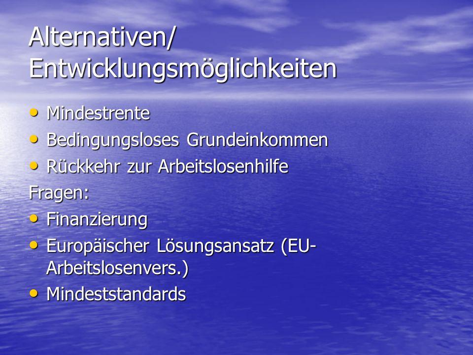 Alternativen/ Entwicklungsmöglichkeiten Mindestrente Mindestrente Bedingungsloses Grundeinkommen Bedingungsloses Grundeinkommen Rückkehr zur Arbeitslosenhilfe Rückkehr zur ArbeitslosenhilfeFragen: Finanzierung Finanzierung Europäischer Lösungsansatz (EU- Arbeitslosenvers.) Europäischer Lösungsansatz (EU- Arbeitslosenvers.) Mindeststandards Mindeststandards