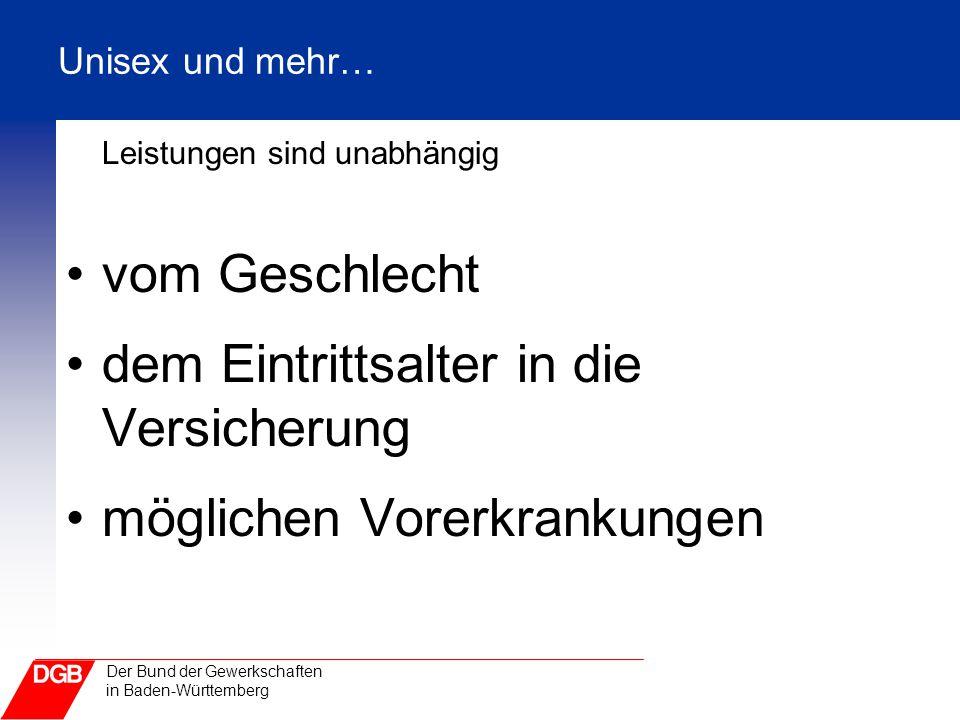 Der Bund der Gewerkschaften in Baden-Württemberg Unisex und mehr… Leistungen sind unabhängig vom Geschlecht dem Eintrittsalter in die Versicherung mög