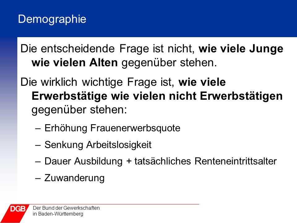 Der Bund der Gewerkschaften in Baden-Württemberg Demographie Die entscheidende Frage ist nicht, wie viele Junge wie vielen Alten gegenüber stehen. Die