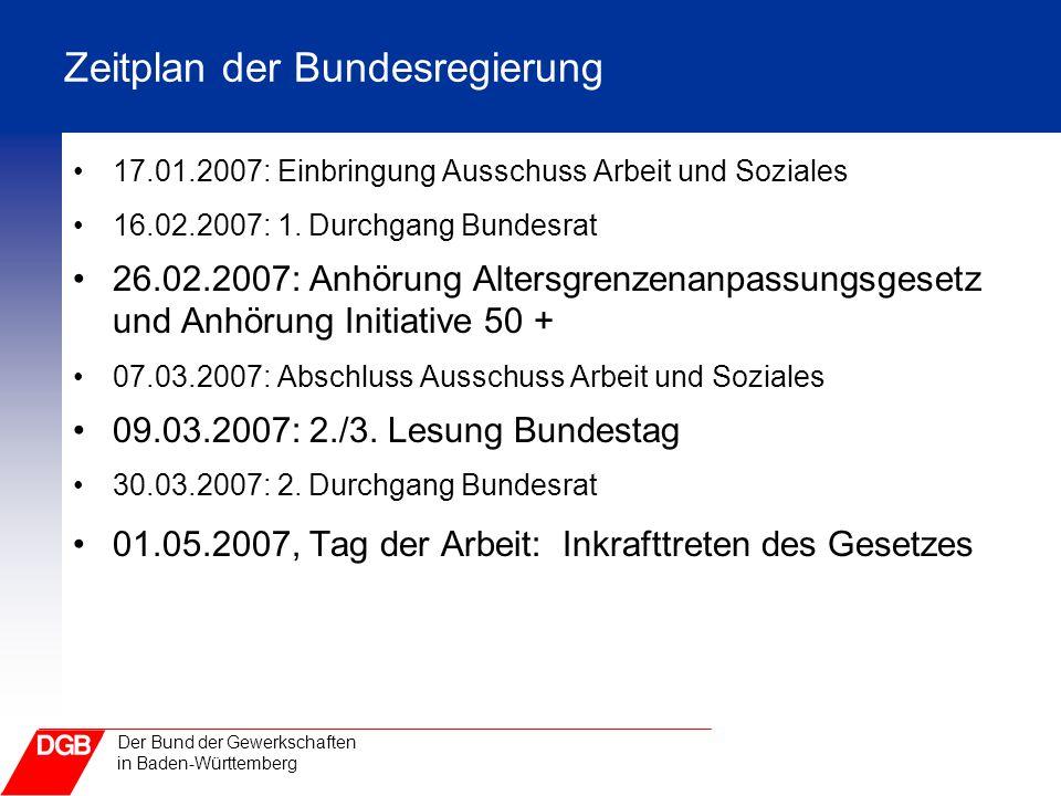 Der Bund der Gewerkschaften in Baden-Württemberg Zeitplan der Bundesregierung 17.01.2007: Einbringung Ausschuss Arbeit und Soziales 16.02.2007: 1. Dur