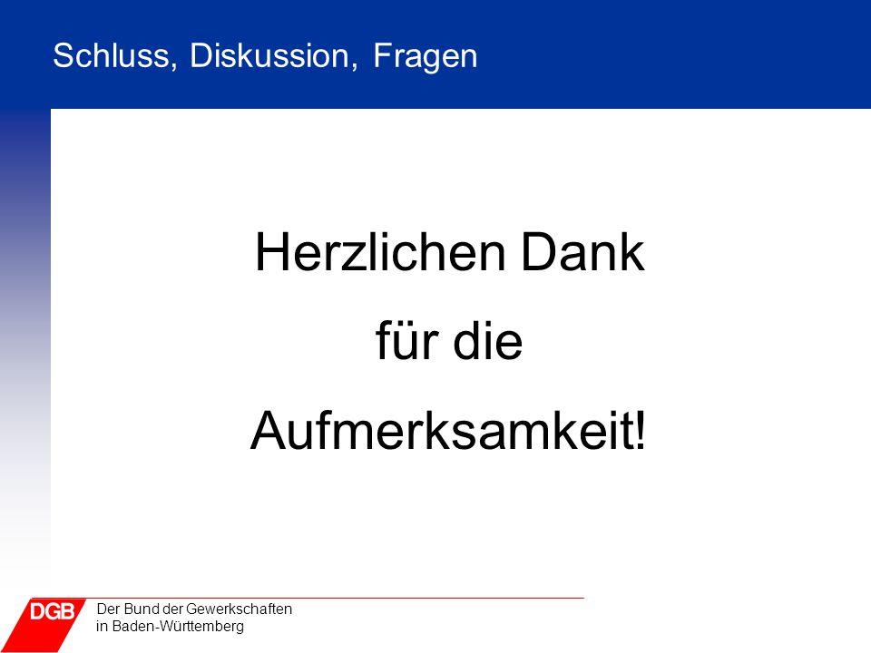 Der Bund der Gewerkschaften in Baden-Württemberg Schluss, Diskussion, Fragen Herzlichen Dank für die Aufmerksamkeit!