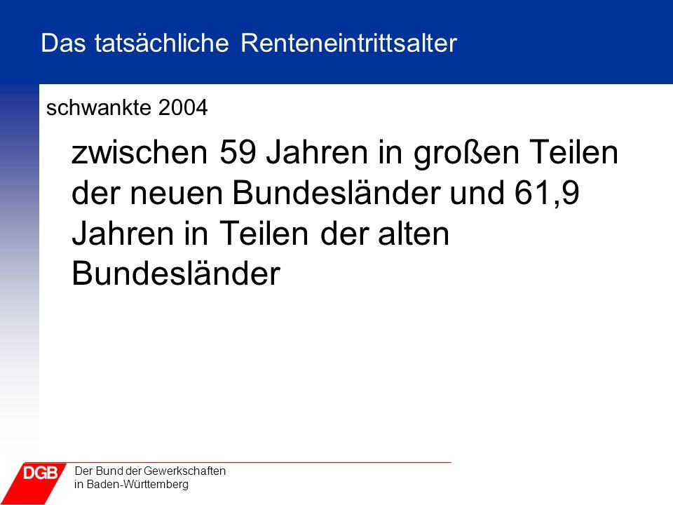 Der Bund der Gewerkschaften in Baden-Württemberg Das tatsächliche Renteneintrittsalter schwankte 2004 zwischen 59 Jahren in großen Teilen der neuen Bu
