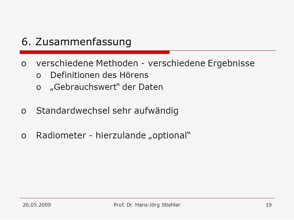 26.05.2009Prof.Dr. Hans-Jörg Stiehler19 6.