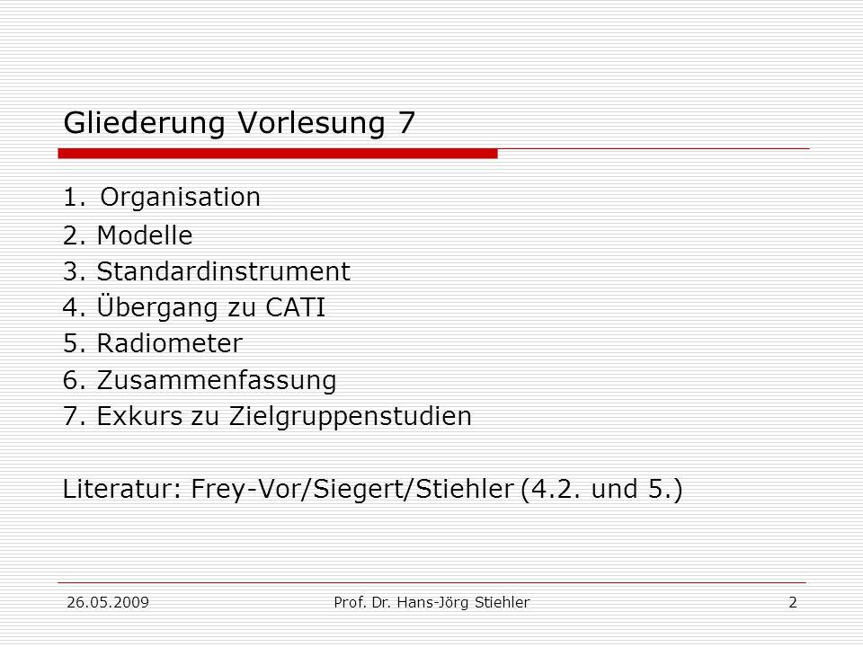 26.05.2009Prof.Dr. Hans-Jörg Stiehler2 Gliederung Vorlesung 7 1.