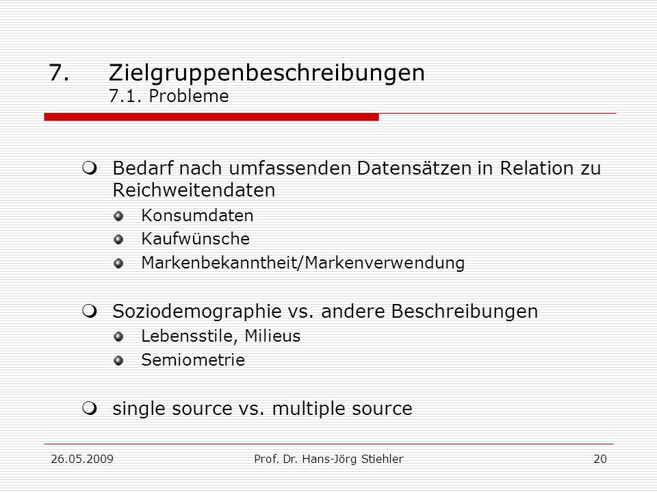 26.05.2009Prof.Dr. Hans-Jörg Stiehler20 7.Zielgruppenbeschreibungen 7.1.