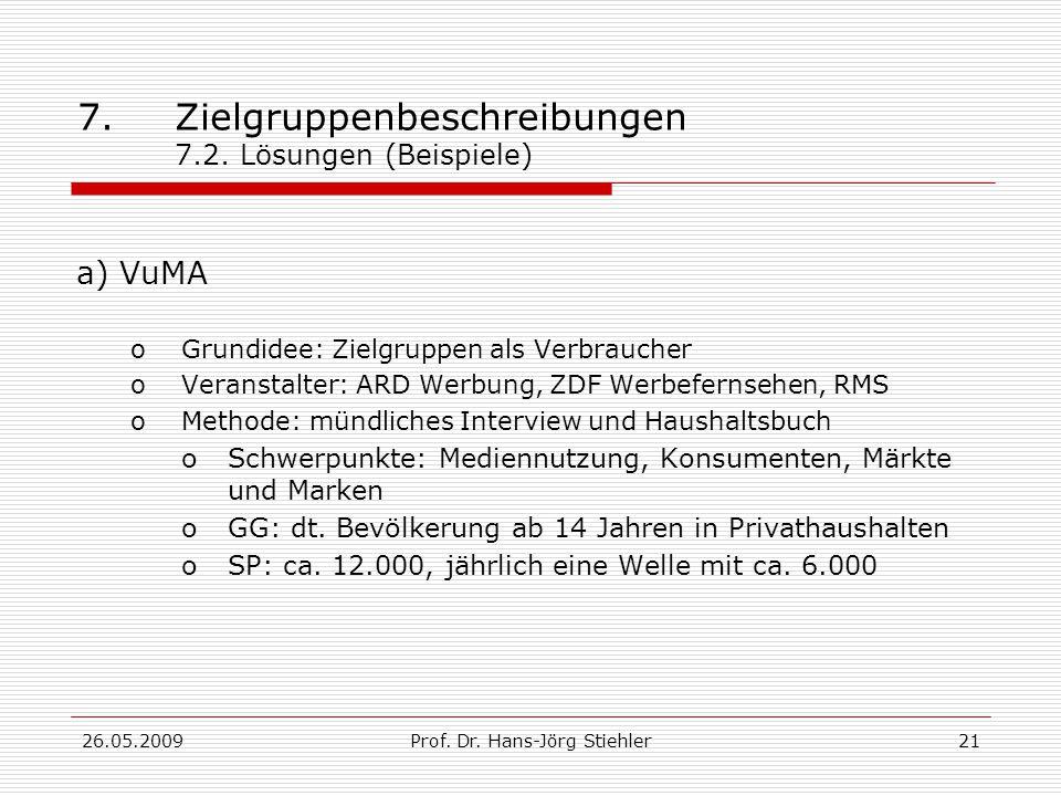 26.05.2009Prof.Dr. Hans-Jörg Stiehler22 7.Zielgruppenbeschreibungen 7.2.