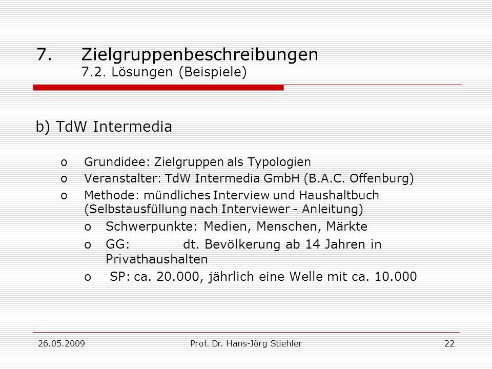 26.05.2009Prof. Dr. Hans-Jörg Stiehler23 7.Zielgruppenbeschreibungen 7.2. Lösungen (Beispiele)
