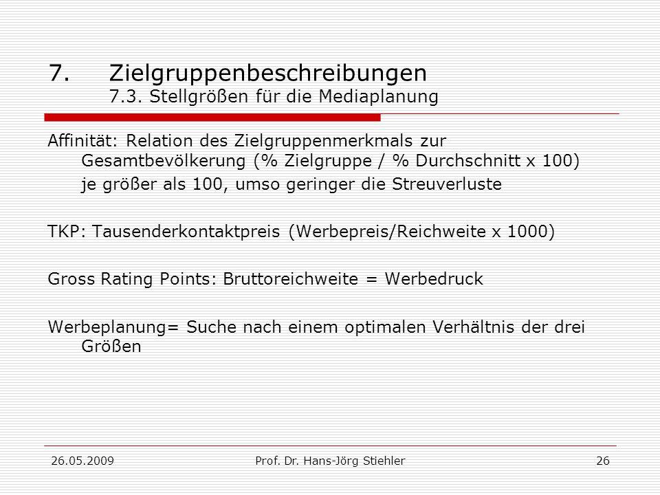 26.05.2009Prof.Dr. Hans-Jörg Stiehler26 7.Zielgruppenbeschreibungen 7.3.