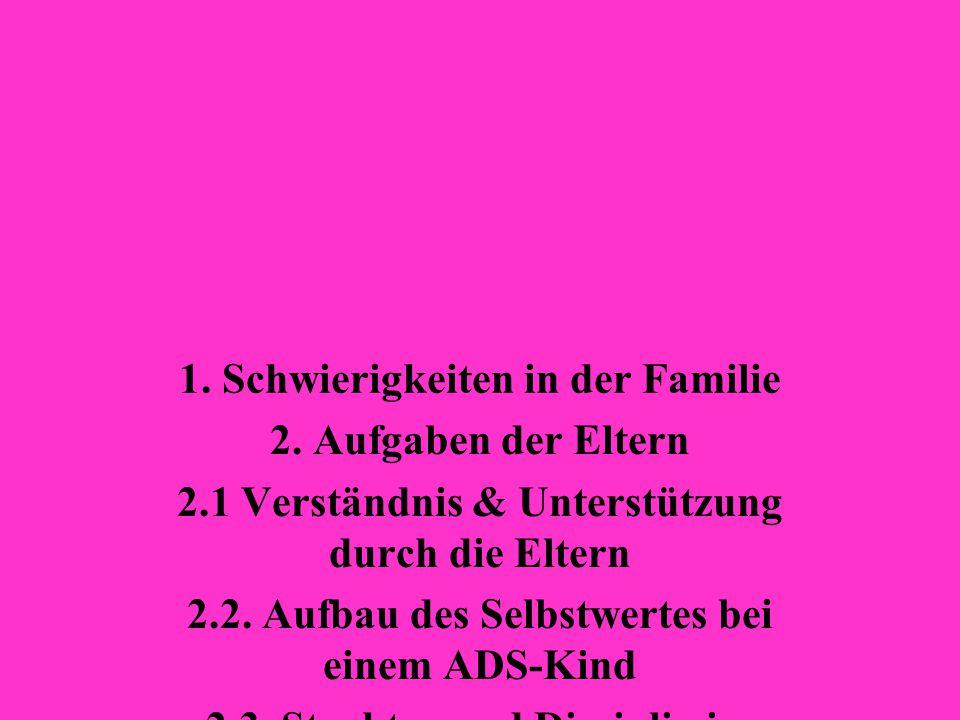 1. Schwierigkeiten in der Familie 2. Aufgaben der Eltern 2.1 Verständnis & Unterstützung durch die Eltern 2.2. Aufbau des Selbstwertes bei einem ADS-K