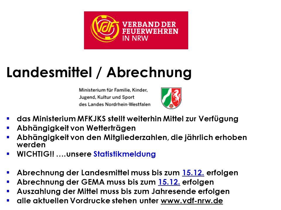 Landesmittel / Abrechnung  das Ministerium MFKJKS stellt weiterhin Mittel zur Verfügung  Abhängigkeit von Wetterträgen  Abhängigkeit von den Mitgliederzahlen, die jährlich erhoben werden  WICHTIG!.
