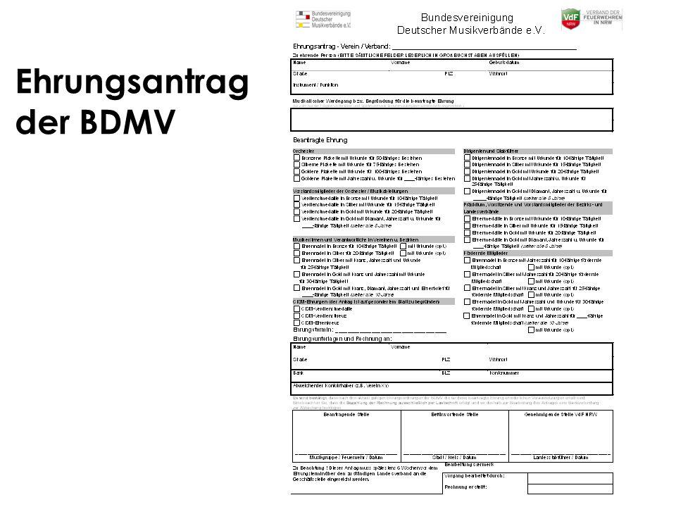Ehrungsantrag der BDMV