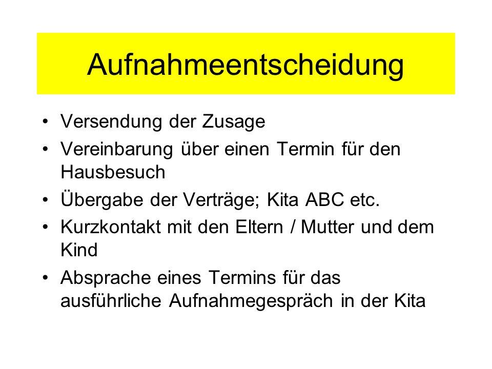 Aufnahmeentscheidung Versendung der Zusage Vereinbarung über einen Termin für den Hausbesuch Übergabe der Verträge; Kita ABC etc. Kurzkontakt mit den