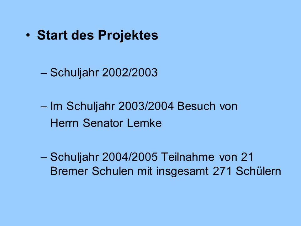 Start des Projektes –Schuljahr 2002/2003 –Im Schuljahr 2003/2004 Besuch von Herrn Senator Lemke –Schuljahr 2004/2005 Teilnahme von 21 Bremer Schulen mit insgesamt 271 Schülern