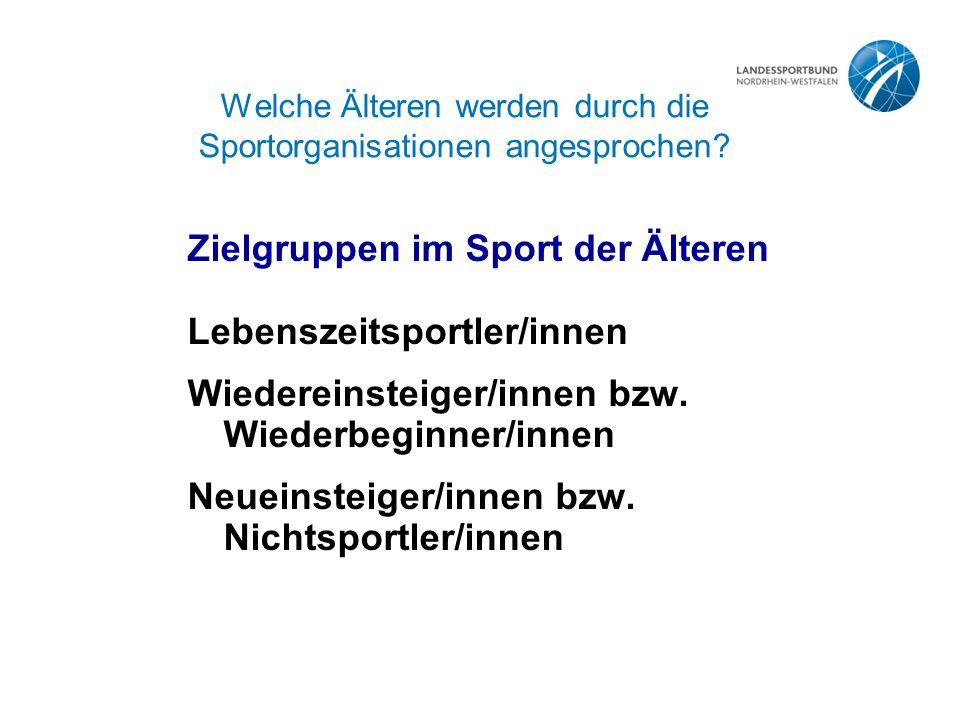 Welche Älteren werden durch die Sportorganisationen angesprochen.